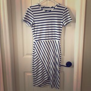 Size small navy and white striped bandage dress